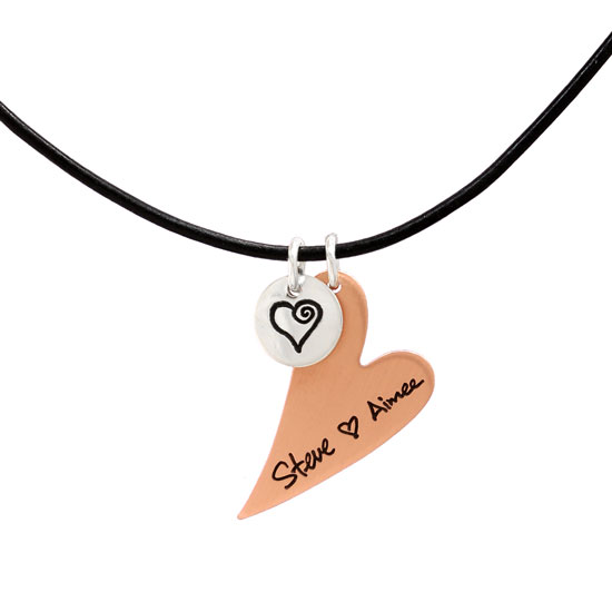 Copper Heart Handwriting Necklace