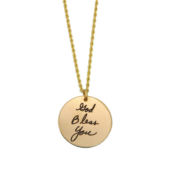 Gold Handwriting Disc Necklace