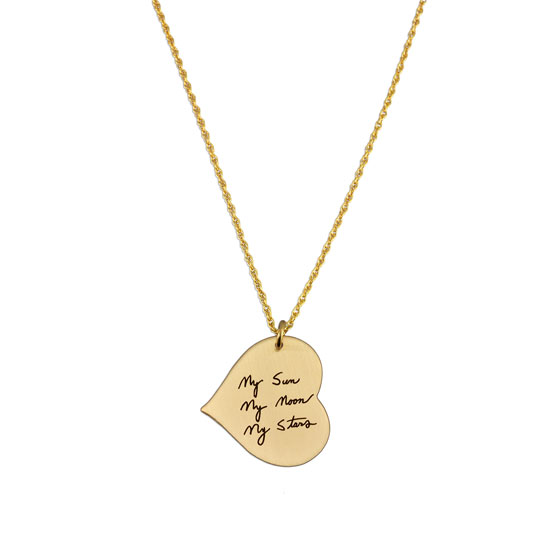 Gold Handwriting Heart Necklace