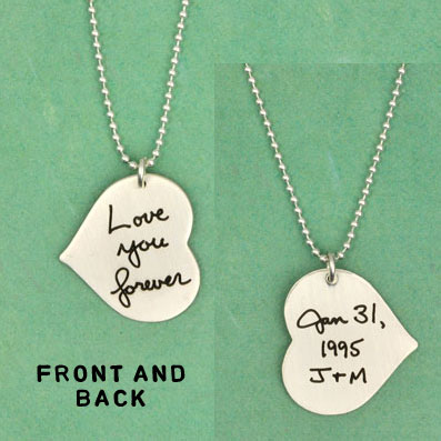 Silver Handwriting Heart Necklace