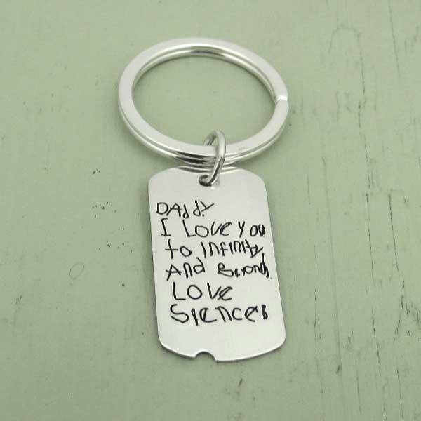 Handwriting Military Tag Key Chain