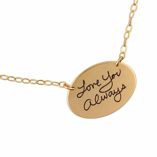 Gold Oval Handwriting Charm
