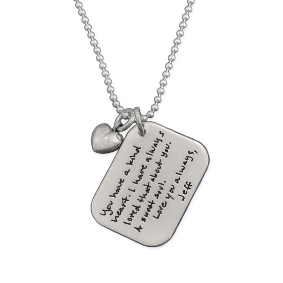 Love Letter Handwriting Necklace