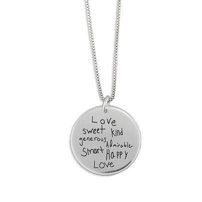 Silver Disc Handwriting Necklace