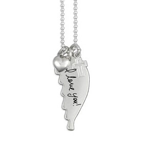 Medium Handwriting Angel Wing Necklace