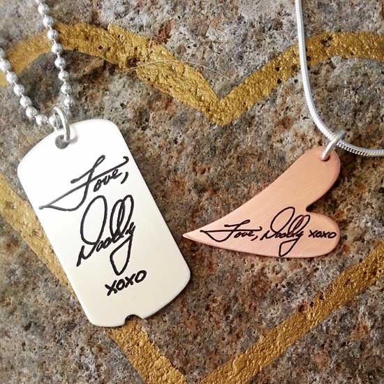 Military Tag and Copper Heart with same handwriting